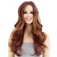 Vurige pruik roodmix lang haar met krullen zonder pony
