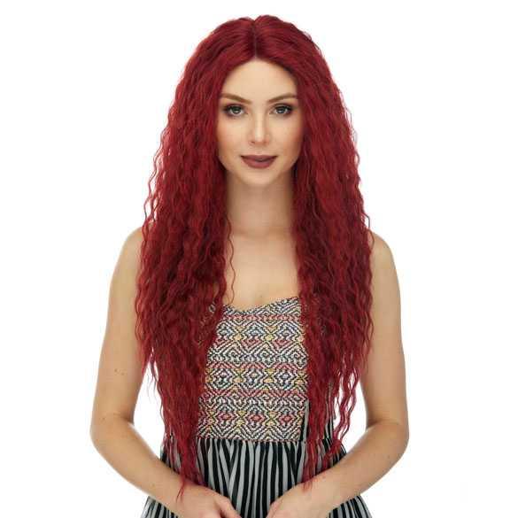 Kersen rode lace front pruik met lang haar model Raven