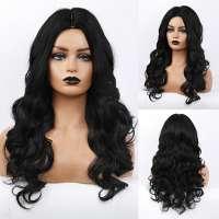 Pruik lang zwart haar met krullen zonder pony model 264