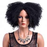 Superchille afro kroes pruik zwart haar