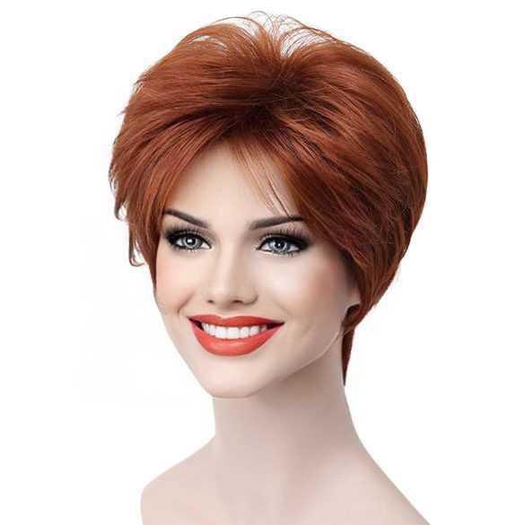 Moderne pruik kort haar in laagjes koper rood kleur 130
