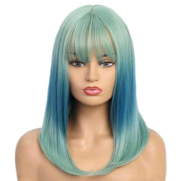 Duo color pruik groen / blauw lang steil haar