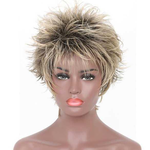 Pruik pixie model kort in laagjes donkergrijs met blond