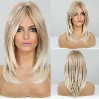 Pruik schouderlang blond haar in laagjes