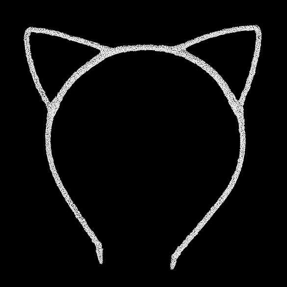 2 x Glinster haarband model katten oortjes wit