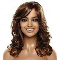 Pruik lang haar bruin met krullen model BLISS FS8-27-613