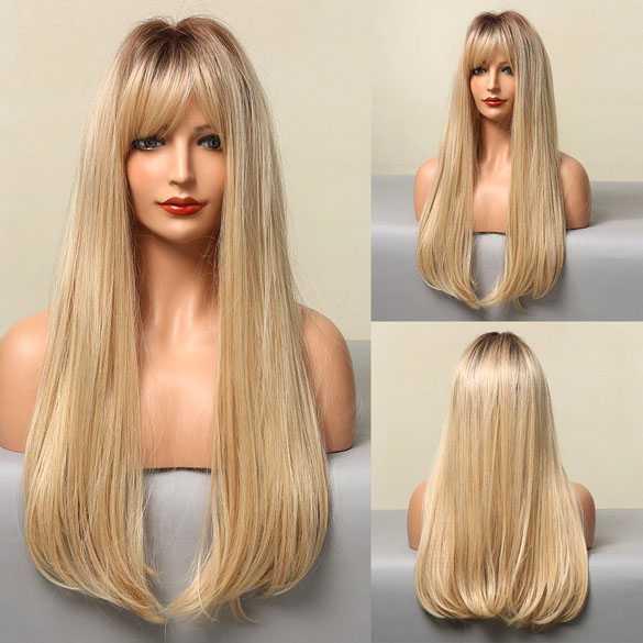 Pruik lang blond steil haar met pony model 021