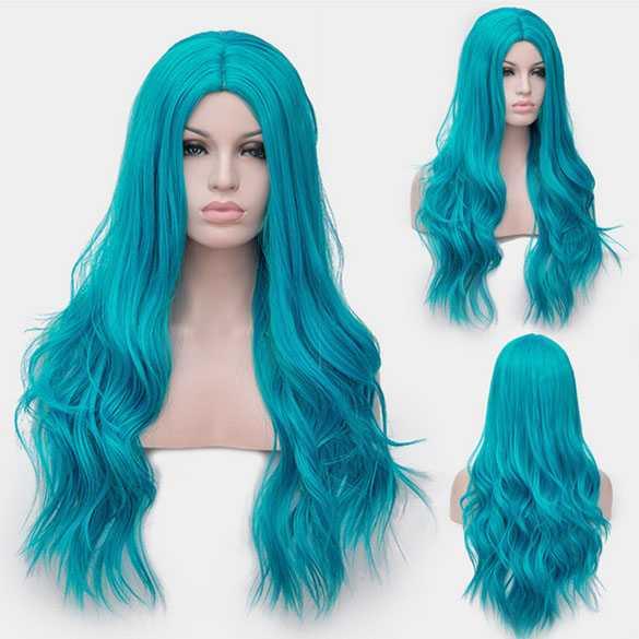 Carnaval pruik lang haar met slagen in helder blauw