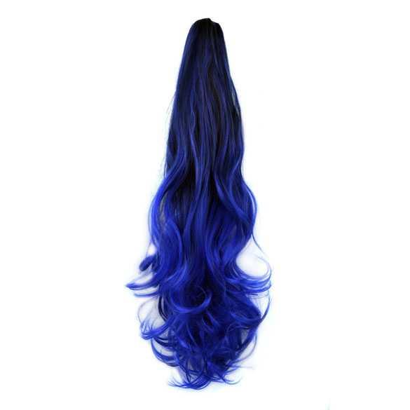 SALE : Ombre paardenstaart met klem zwart blauw