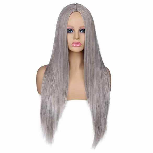 Cosplay pruik lang steil haar zonder pony kleur zilvergrijs