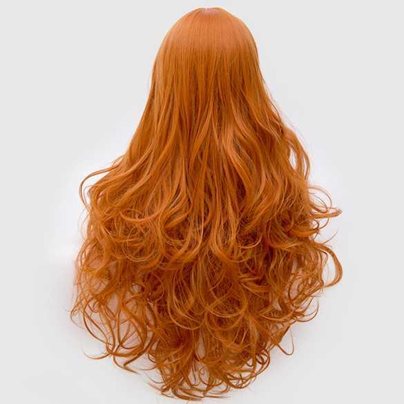 Luxe pruik pompoen oranje lang haar met krullen