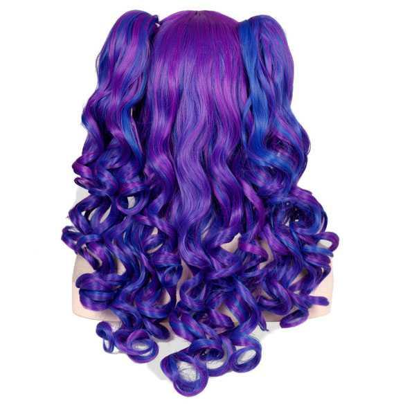 Duo-color pruik lang haar met krullen + 2 staarten op klem