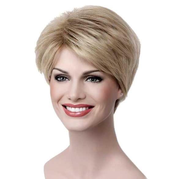 Moderne pruik kort lichtblond haar in laagjes kleur 15BT613
