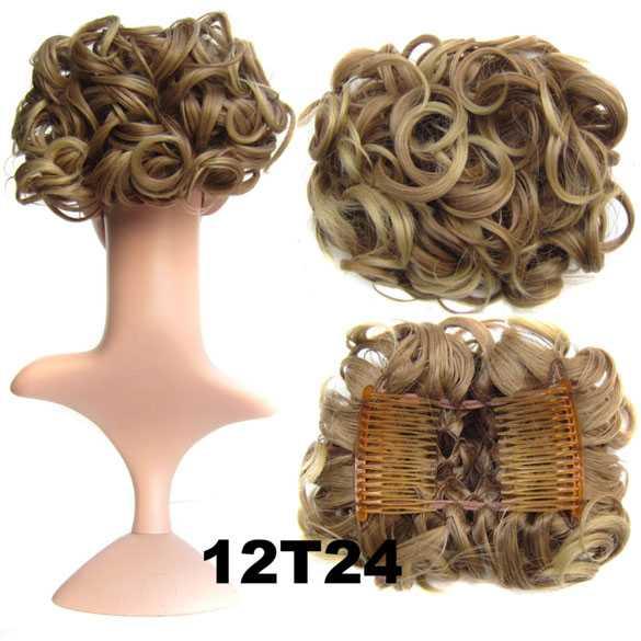 Chignon elastisch haarstukje / vlinderkam kleur 12T24