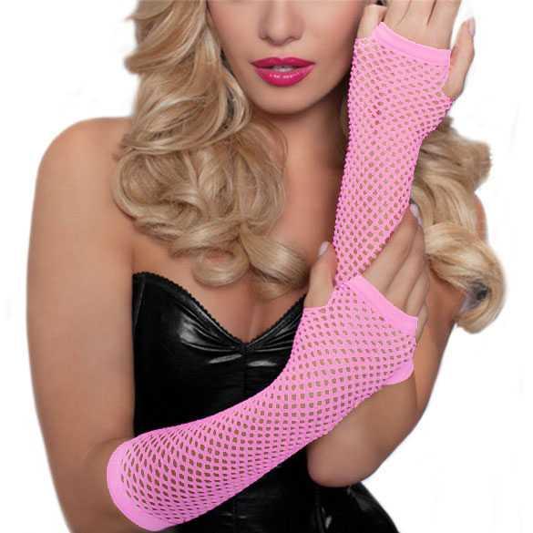 Gaas lingerie handschoenen zonder vingers pastel roze