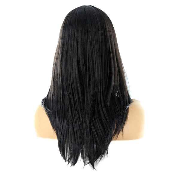 Pruik schouderlang zwart steil haar in laagjes model Isa