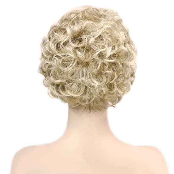 Damespruik kort krullend haar blondmix L16-613