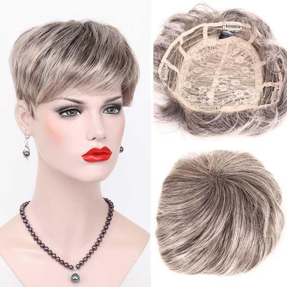 Haartopper met clips bruin grijsmix kleur 48T