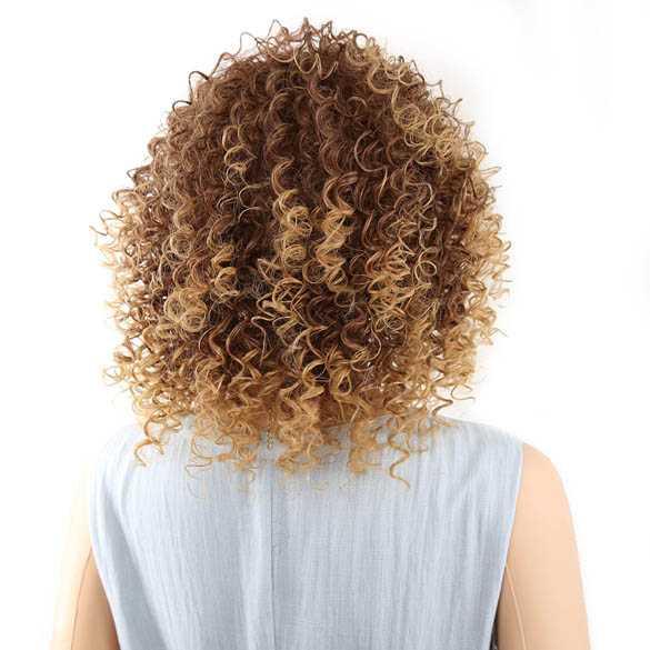 Pruik afro kroes schouderlang haar spiraalkrullen