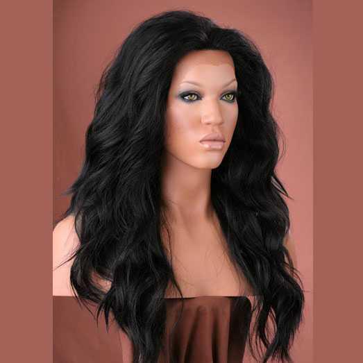 Lace pruik lang golvend zwart haar model Yvonne