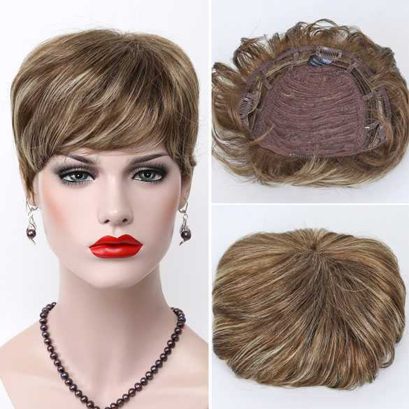 Haartopper met clips lichtbruin blondmix kleur 12TT26