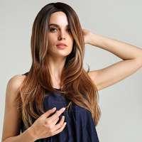 Fashion pruik lang steil haar in laagjes model LY 186