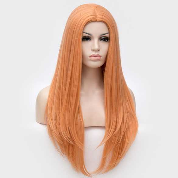 Pruik lang steil haar in lagen Soft Orange