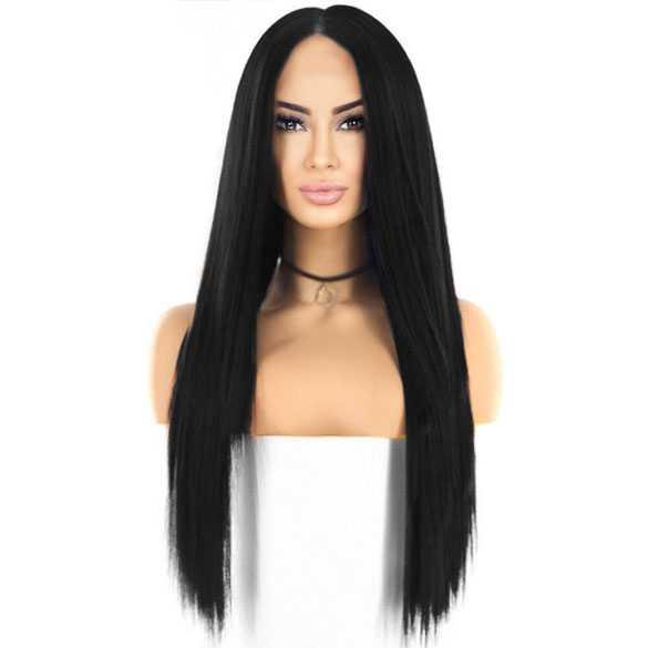 Swiss lace pruik lang steil zwart haar model Tabitha