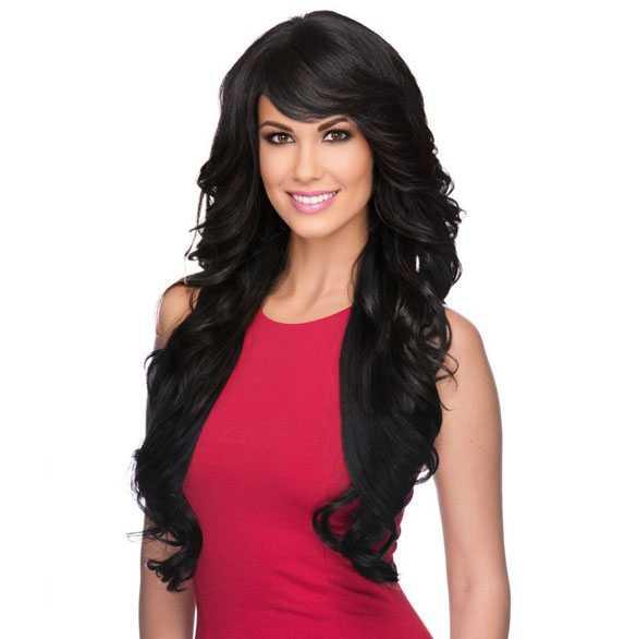 Pruik lang zwart haar met slagen model Vienna kleur 1b