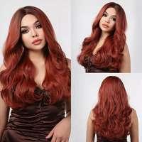 Vurige pruik roodmix lang haar met grove slag model 5221