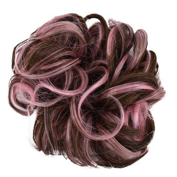 Duo-color haar scrunchie met elastiek bruin roze