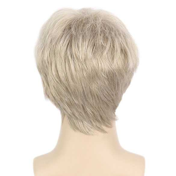 Grijs blonde mannenpruik kort haar in laagjes