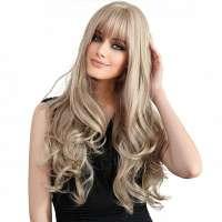Pruik lang blond krullend haar met pony model Lisa
