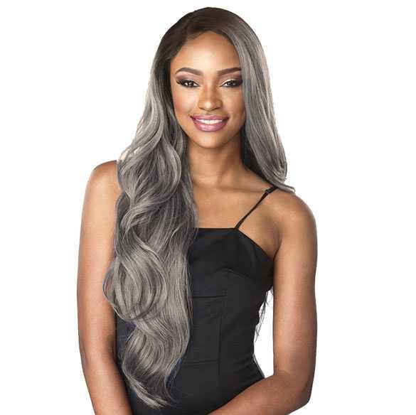 Lace pruik lang grijs haar met grove slagen zonder pony model 7818 L