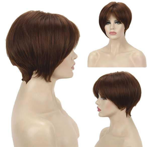 Pruik a-symetrisch kort haar in laagjes kleur 30-F27