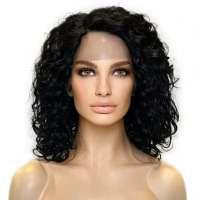 Lace pruik zwart haar met krullen model Skylar