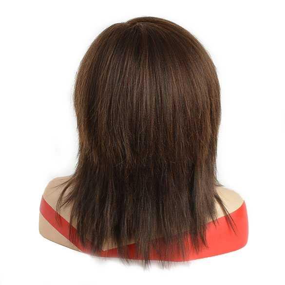 Pruik schouderlang bruin steil yaki haar