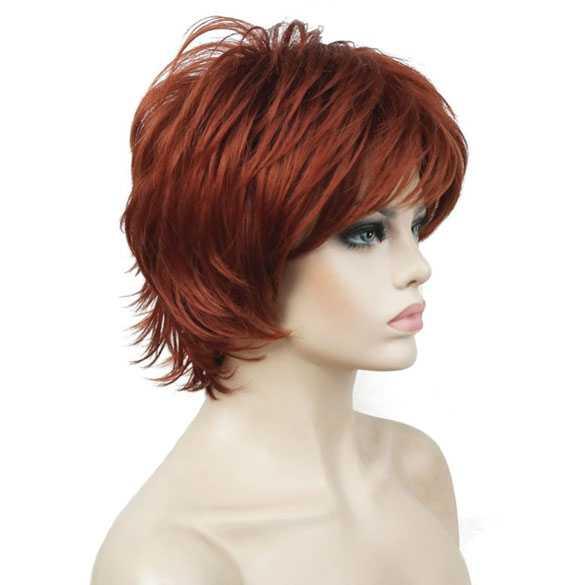 Moderne pruik rood kort haar met plukjes kleur 130