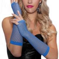 Gaas lingerie handschoenen zonder vingers blauw
