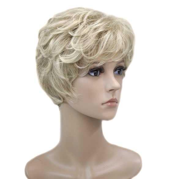 Moderne pruik kort krullend haar blondmix 15BT613