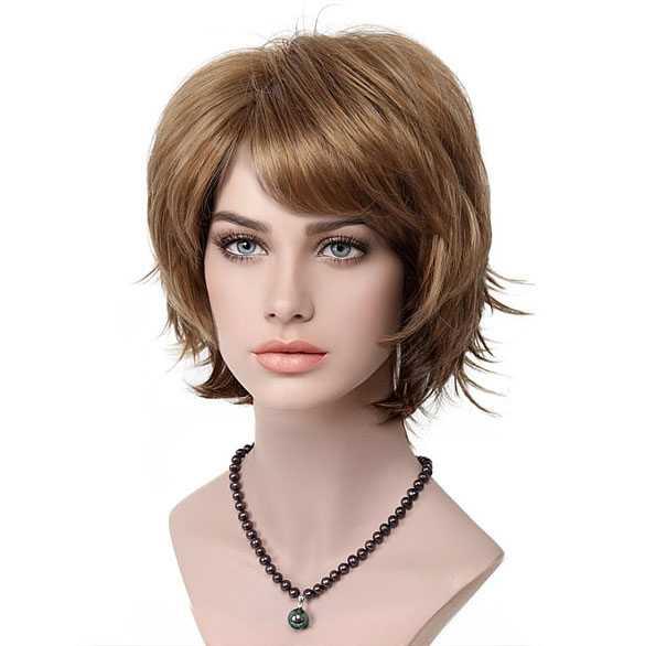 Moderne pruik roodblond kort haar met plukjes kleur 19