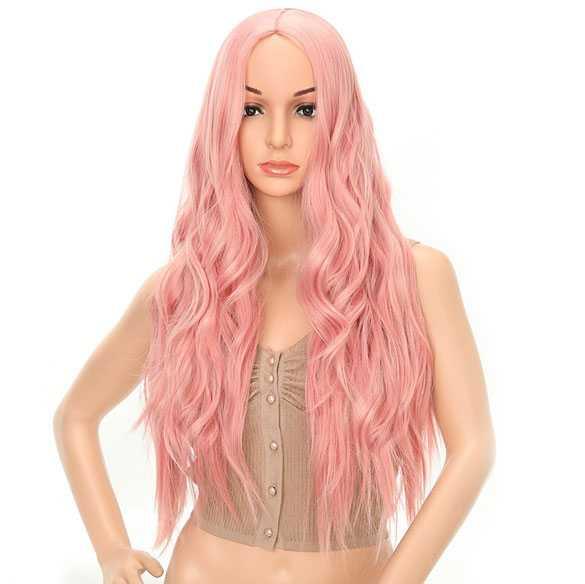 Milkshake roze pruik lang haar met slagen