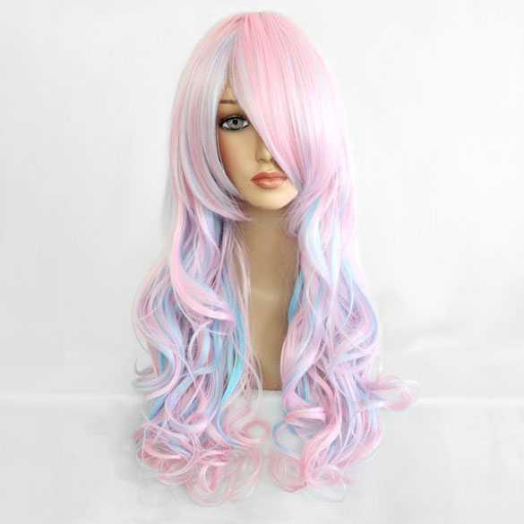 Lolita pruik baby-roze baby-blauw met krullen