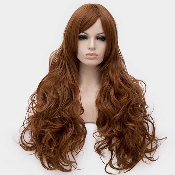 Luxe pruik honingbruin lang haar met krullen
