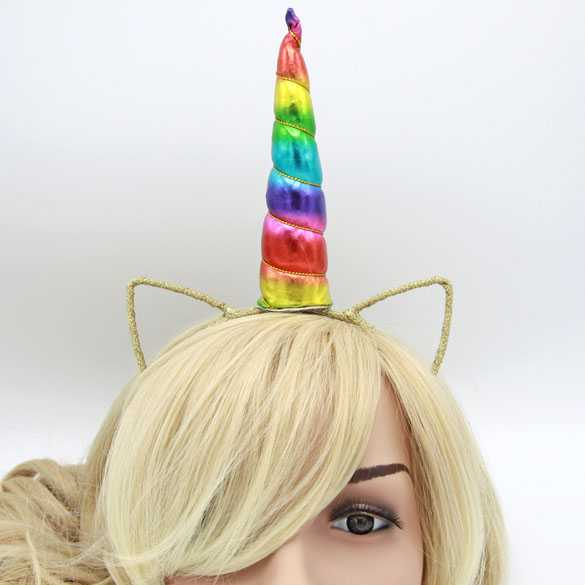 Unicorn haarband met oortjes Rainbow