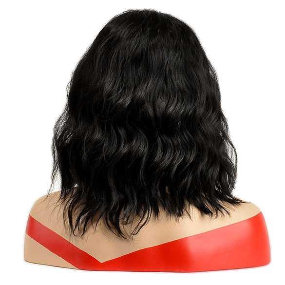 Pruik zwart schouderlang haar met wave slagen