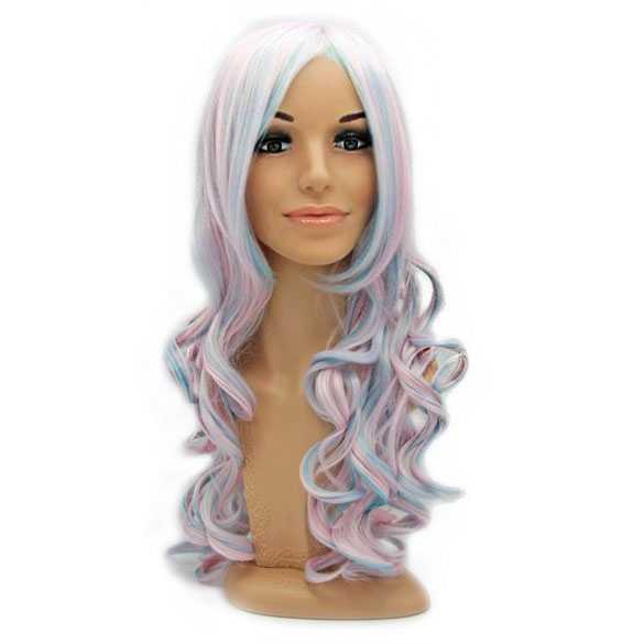 Lolita pruik pastel ijsroze ijsblauw lang haar met krullen
