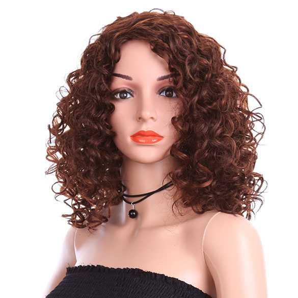 Ginger rode pruik halflang haar met kleine krullen model zonder pony