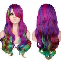 Carnaval pruik lang haar met krullen multi-color regenboog