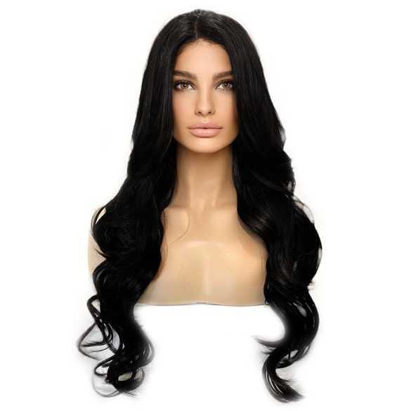 Lace pruik lang zwart haar zonder pony model Kim